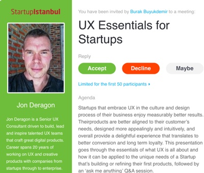 UX Essentials for Startups at Startup Istanbul Promotion